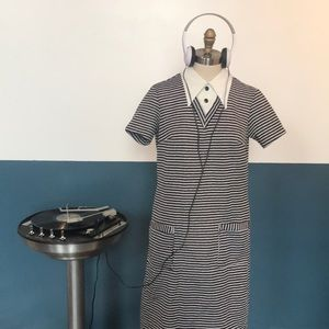 1960s vintage mod striped dagger collar dress